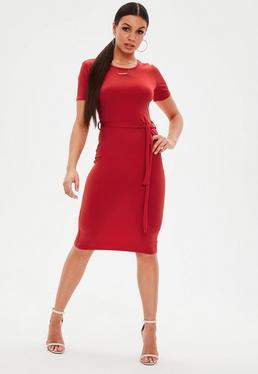 Red Short Sleeve Tie Waist Midi Dress