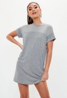 Grey Mesh T-Shirt Dress
