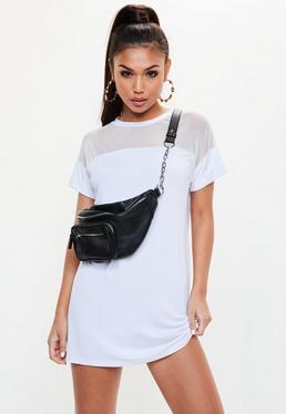 Vestido camiseta con transparencias en blanco