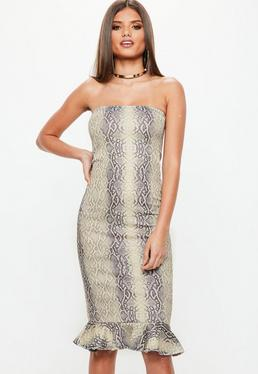 Grey Snake Print Bandeau Flippy Hem Midi Dress