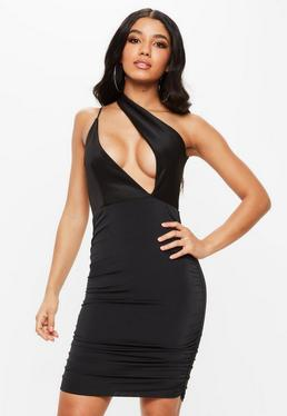 Black Scuba Slinky One Shoulder Bodycon Dress