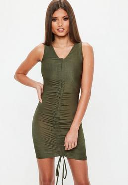 Khaki Ruched Front Slinky Mini Dress