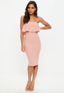 Rose Bandeau Frill Midi Dress
