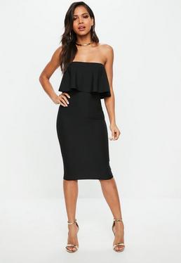 Black Bandeau Frill Midi Dress