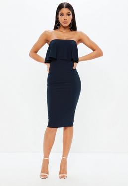 Granatowa sukienka bez ramiączek
