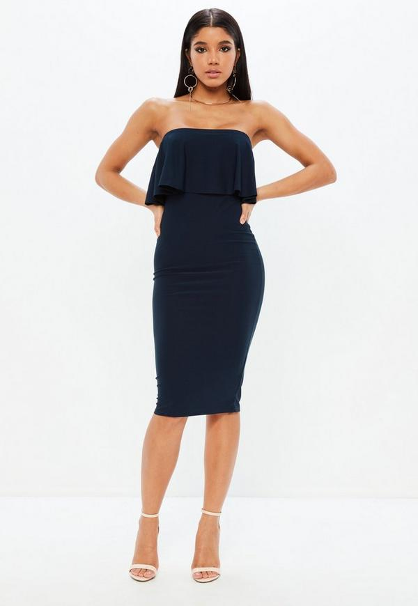 Navy Frill Bandeau Dress by Missguided
