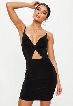 Black Double Layer Slinky Twist Front Cut Out Bodycon Dress