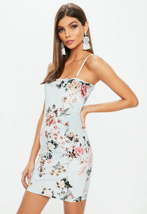 Blue Strappy Floral Printed Velvet Mini Dress by Missguided