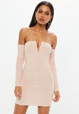 Pink V Bar Lettuce Hem Mini Dress
