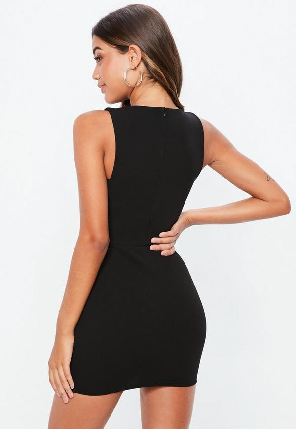 Black Sleeveless Cut Out Side Bodycon Dress Missguided