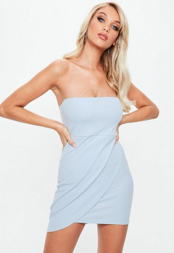 Blue Stretch Crepe Bandeau Wrap Bodycon Dress by Missguided