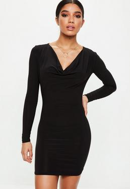 Black Cowl Neck Bodycon Dress