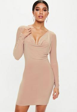 Pink Cowl Neck Bodycon Dress