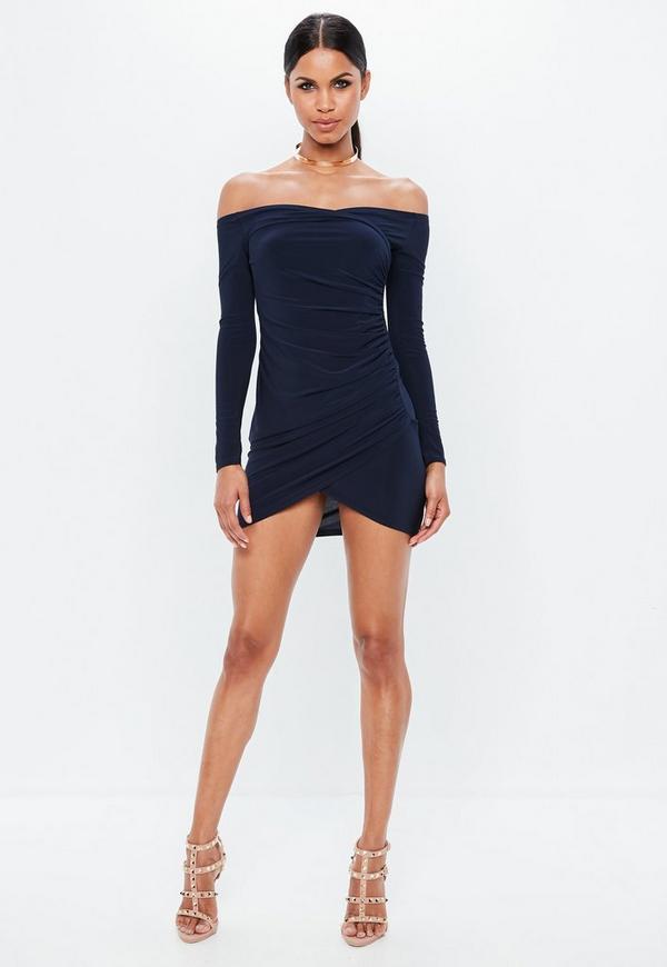 Navy Wrap Bardot Bodycon Dress by Missguided