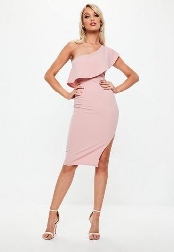 Blush Pink One Shoulder Frill Split Midi Dress