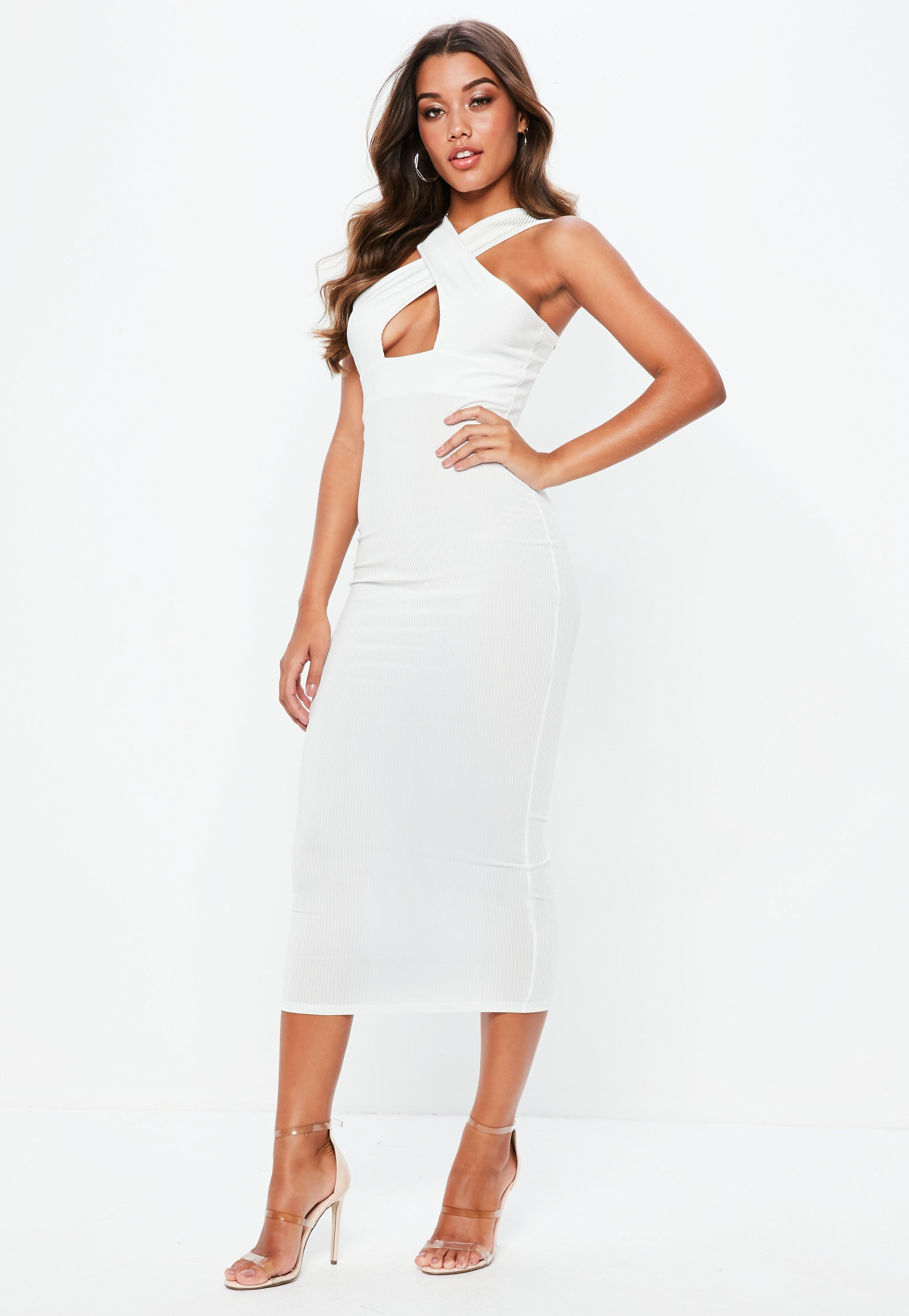 White Cross Front Ribbed Midi Dress