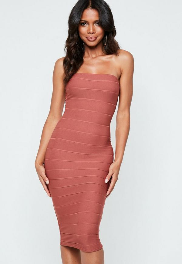Rust Strapless Bandage Midi Dress by Missguided