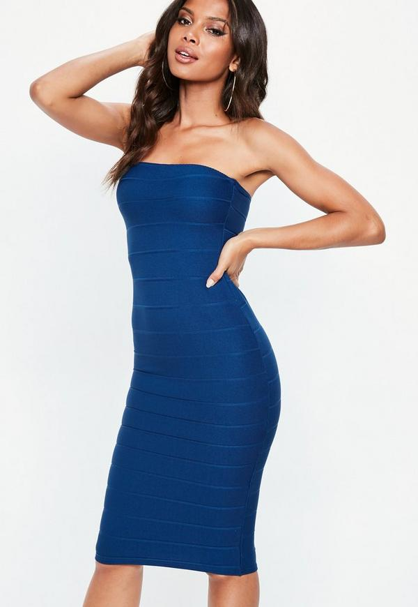 Navy Bandeau Bandage Midi Dress by Missguided
