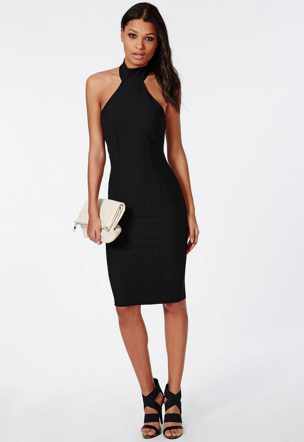 Stretch Crepe High Neck Midi Dress Black