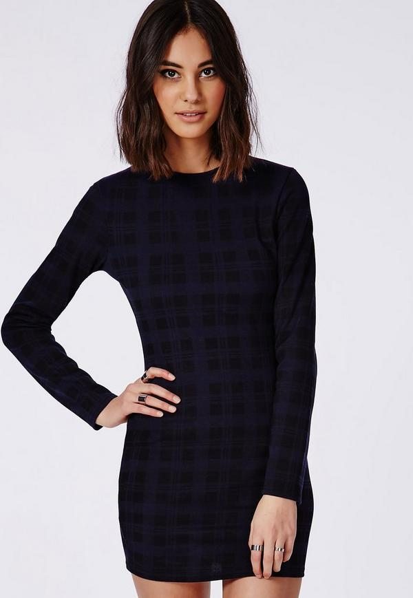 Long Sleeve Jersey Bodycon Dress Blue Check