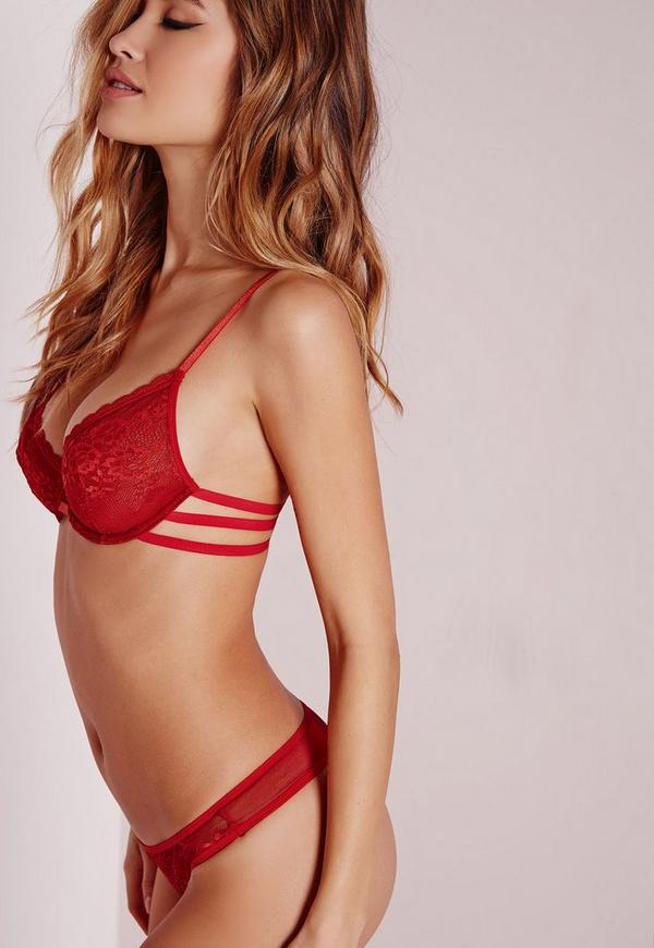 Triple Strap Lace Underwired Bra Red