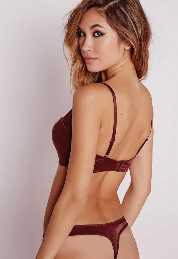 Deep Plunge Super Push Up Bra Burgundy | Missguided