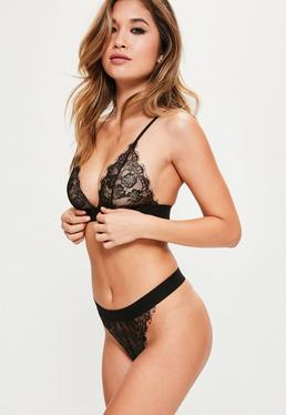 Scallop Lace Thick Strap Triangle Bra Black