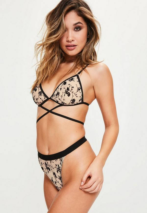 Black Strappy Flock Print Bra