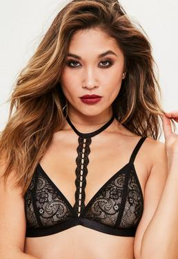 Black Lace Halter Neck Bra