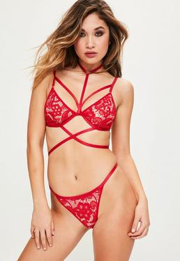 Red Lace Harness Triangle Bra