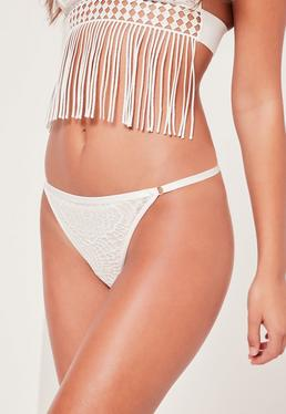 Textured Lace Thong White