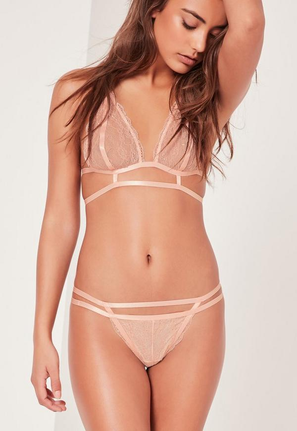 Lace Caged Detail Thong Nude