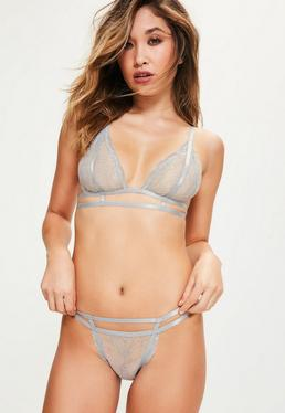 Cage Detail Triangle Lace Bra Grey