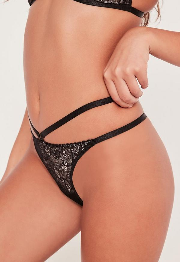 Lace High Strap Thong Black