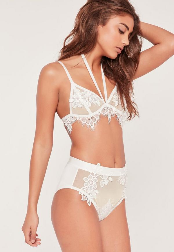 Mesh High Waisted Floral Applique Detail Knickers White