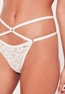 String blanc en organza avec fines lanières