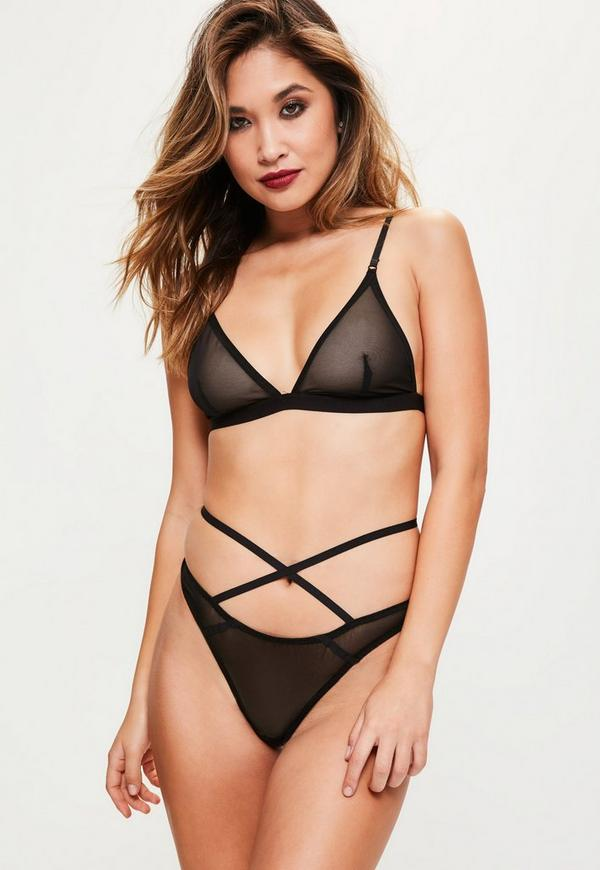 Black Mesh Triangle Bra
