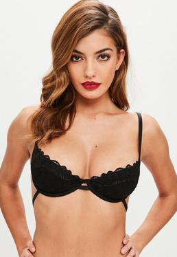 Black Scallop Lace Underwired Bra