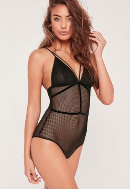 Black Fishnet Babydoll Bodysuit