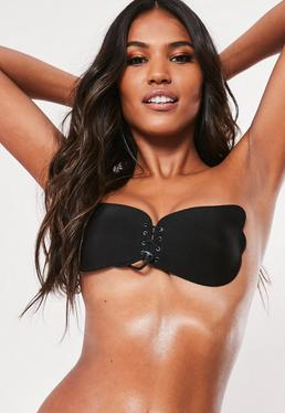 Strapless Adhesive Push up Bra Black