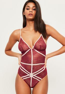 Burgundy Crossover Detail Lace Teddy