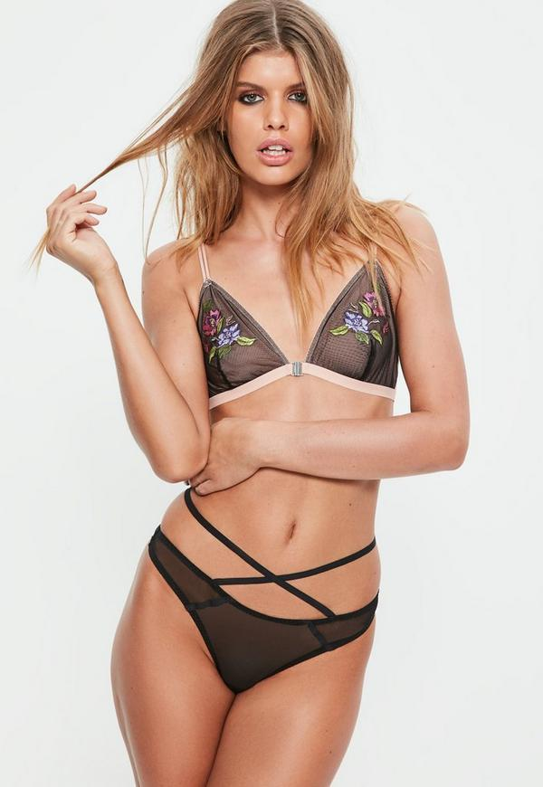 Black Floral Embroidered Triangle Bra