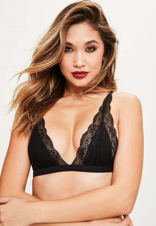 Black Triangle Lace Bra