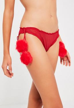 Red Pom Pom Detail Panties