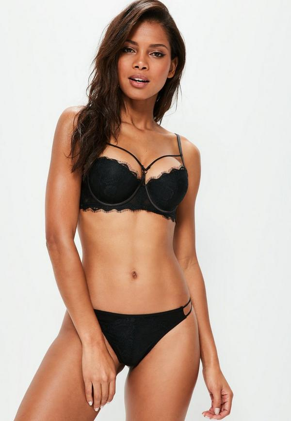 Black Underwired Double Strap Lace Detail Bra