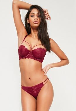 Burgundy Underwired Bust Strap Detail Bra