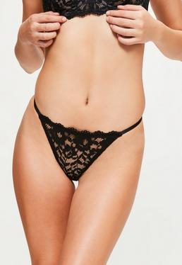 Black Scallop Lace G-String