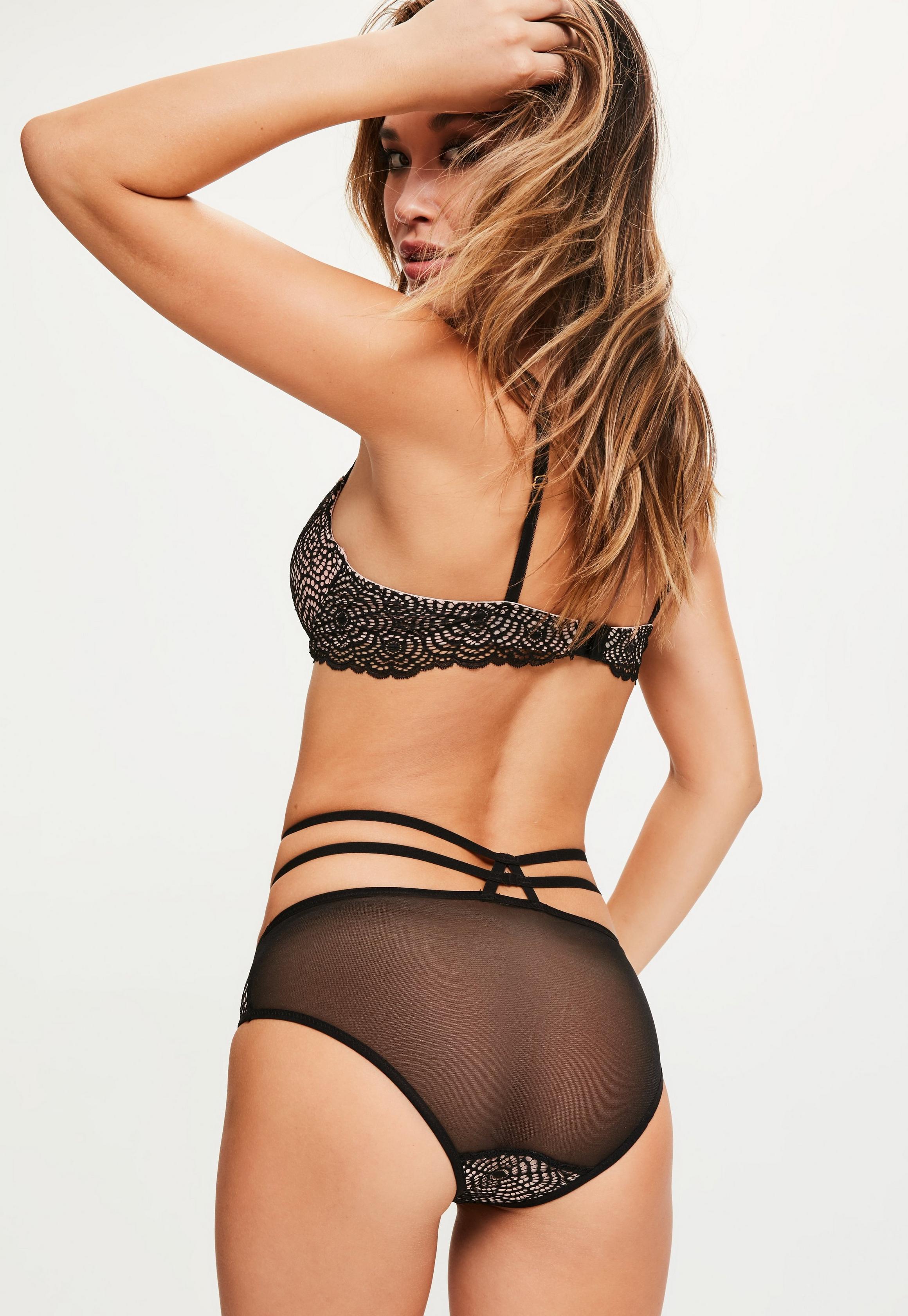 Missguided - Culotte noire effet dentelle doublure contraste - 3