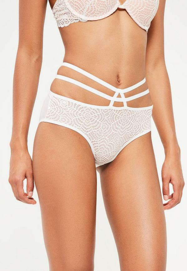 Nude Contrasting Lace Overlay Strappy Knickers