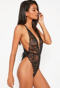 Black Delicate Lace Teddy